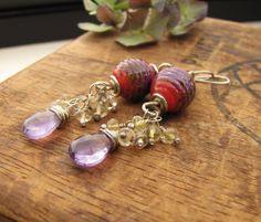Lampwork Earrings. Sterling Silver Red by sundownbeaddesigns, $42.00