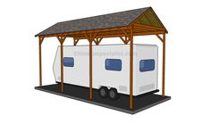 Kayak Storage Plans How to build a wooden carport - This step by step diy woodworking project is about how to build a wooden carport. Building a carport for your rv is a basic project, but it will protect your vehicle from bad weather. Lean To Carport, Building A Carport, Diy Carport, Carport Plans, Double Carport, Shed Plans, House Plans, Pergola Plans, Boat Building