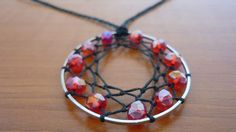 Handmade Dreamcatcher Necklace, Hot Pink Glass Beads, Black Cotton Cord, Silver Frame, DIY