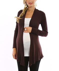Take a look at this Brown Maternity Open Cardigan on zulily today!