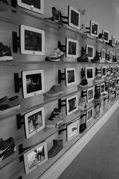 Every shoe in the Lebron James store has an interactive screen by them