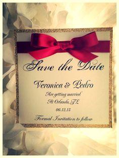 Rot und Gold Save the Date Goldene Hochzeit die von VPElegance