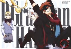 D. Gray-man (ディー・グレイマン)Lavi leans back on Allen Walker, while Howard Link gazes over disapprovingly, in the latest D. Gray-man Hallow poster art work, from Animedia Magazine (Amazon US | JP),...