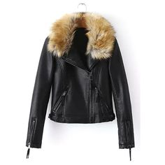 Yoins Artificial Fur Leather Look Biker Jacket ($65) ❤ liked on Polyvore featuring outerwear, jackets, yoins, coats & jackets, tops, black, vegan leather jacket, faux fur jacket, faux leather jacket and moto jacket
