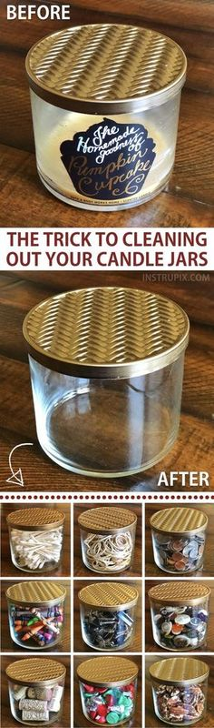DIY: How to get wax out of candle jars! This easy trick takes hardly any effort at all, and is a great way to recycle, repurpose and reuse. Recycled projects and crafts are always my favorite because they're either really cheap or cost nothing at all. You could even sell these as pretty storage jars! A life hack everyone should know. Instrupix.com
