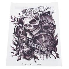 Prezzi e Sconti: #Skull clock rose waterproof temporary tattoo Instock  ad Euro 0.87 in #Black #Tattoobody art temporary