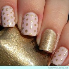 Stylish Polka dot design in gold and pale pink design