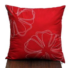 Red Flower Pillow Cover Decorative Pillow Cover Red by KainKain, $21.00