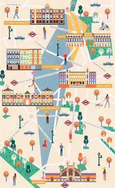 Les Echos France Weekend Magazine Madrid Map on Behance