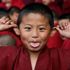 Tibetan monk - little guy. Photo's origin unknown (Sept13).