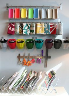 Sabrina Soto's organized office. Magnetic strips and hooks. So Resourceful.