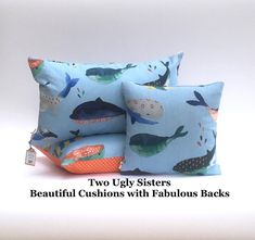 Whale Seaside Nursery Cushion for Kids Child Pillow Nautical Whale Print Fabric Microfibre Pillow Two Ugly Sisters Free Shipping Printed Cushions, Scatter Cushions, Polka Dot Fabric, Polka Dot Print, Cushion Pads, Cushion Covers, Kids Pillows, Throw Pillows, Whale Print
