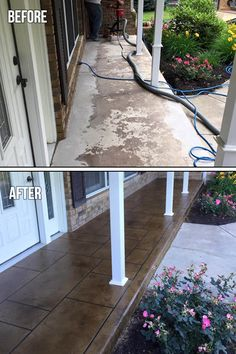 Porch Resurfacing - Transform your home or business with this high-end looking finish – inside and out. Porch Resurfacing - Transform your home or business with this high-end looking finish – inside and out. Concrete Patios, Concrete Front Porch, Painted Concrete Porch, Painted Patio Concrete, Stained Concrete Driveway, Decorative Concrete, Front Porch Makeover, Patio Makeover, House With Porch