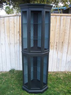 Black Painted And Hand Waxed Corner Curio Cabinet