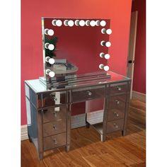 Rosdorf Park Rockland Vanity Set with Mirror Mirrored Vanity Table, Glam Mirror, Vanity Desk, Vanity Set With Mirror, Furniture Vanity, Mirrored Furniture, Mirror Work, Mirror Mirror, Corner Makeup Vanity