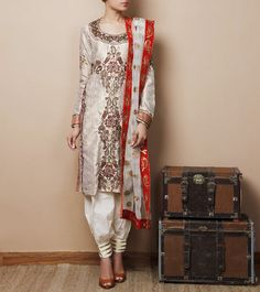 Beige & Gold Cotton Embroidered Salwar Kameez Citrine