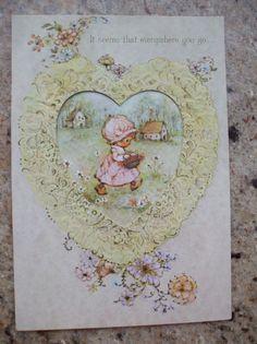 Vintage Valentine MARY HAMILTON Hallmark Charmers Little Girl Die Cut Heart
