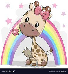 Cute Cartoon Giraffe with flower. Greeting card Cute Cartoon Giraffe with bird and flower vector illustration Cute Cartoon Pictures, Cute Cartoon Girl, Baby Cartoon, Cute Pictures, Cartoon Giraffe, Cute Giraffe, Baby Animal Drawings, Cute Drawings, Baby Animals