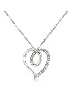 CLEAR CUBIC ZIRCONIA HEART PENDANT NECKLACE - BRIDAL WEDDING JEWELLERY - Silver Wedding Necklaces - Wedding Necklaces - Wedding Jewellery - Wedding Accessories