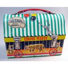 antique CIRCUS lunchbox  Thermos brand  1938