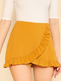 Ruffle Trim Overlap Mini Shorts 2018 Summer Ginger Zipper Fly Skirt Shorts Mid Waist Zipper Plain Women Shorts Ginger S Cute Skirts, Short Skirts, Short Dresses, Outfits For Teens, Summer Outfits, Cute Outfits, Stylish Outfits, Mini Shorts, Ruffle Shorts