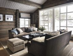 Love the furniture arrangement by the big window My Living Room, Home And Living, Living Spaces, Cozy Living, Cabin Homes, Log Homes, Modern Log Cabins, Lexington Home, Cabin Interiors