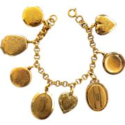 Fanciful Antique Vintage Gold Filled Locket Bracelet