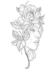 Tattoo Design Drawings, Tattoo Sleeve Designs, Tattoo Sketches, Drawing Sketches, Sleeve Tattoos, Tattoo Outline Drawing, Outline Drawings, Drawing Stencils, Tattoo Stencils