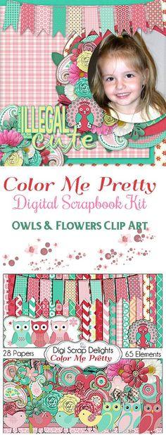Owl Clip Art / Bird Digital Scrapbook Kit in Pink Red Cards, Invites, Digital Scrapbooking, Instant Download