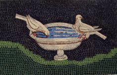 Handmade Mosaic of Birds Drinking water
