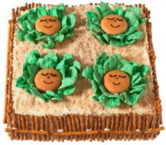 Adorable cabbage patch cake for first birthday or baby shower.