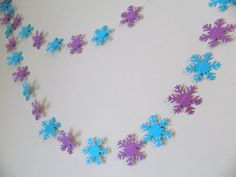Paper Garland - Frozen Movie Themed Snowflake Garland- Birthday Decor- Teal and Purple Snowflakes- Classroom Teachers Decor-Photo Prop