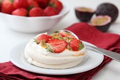 mini pavlova with strawberries and passion fruit