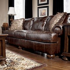 Axiom Sofa Walnut (Brown) - Signature Design by Ashley Living Room Sets, Living Room Chairs, Living Room Designs, Living Room Furniture, Living Room Decor, Leather Living Room Set, Walnut Chair, Ashley Furniture Industries, Elegant Living Room