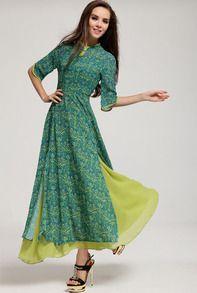 maxi robe fendue motif floral mi-manche