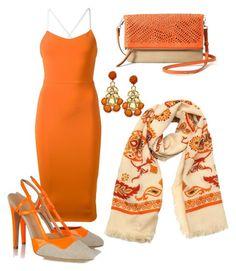 Lola by christyking863 on Polyvore featuring polyvore мода style Victoria Beckham Aperlaï Stella & Dot Gucci fashion clothing orange dress Tan scarf tangerine