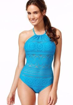 5fc72cfd3465b KENNETH COLE REACTION women's ONE PIECE CROCHET SWIMSUIT Suns Out Blue  LARGE nwt Swimsuit Shops,