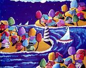 Sailboats Houses Trees Lighthouse Whimsical Colorful Canvas Folk Art Painting. via Etsy.  Giving this painting by Renie Britenbucher to our office administrator on the occasion of her retirement.  I love the style of Renie's work.