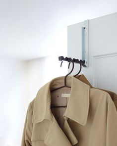 Stylish Over-The-Door Hook from Yamazaki! It has some silts to hold hangers well. Smart Folding Over-The-Door Hook