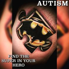 Sent to us by @alice_in_garden! #tattoo design by @danedonkertattoos #superheroes #autismchampions #batman