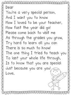 End of the Year Poem Freebie