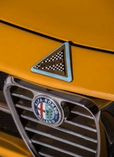 Grill of an Alfa Romeo 1750 GTAm, featuring the triangular Autodelta badge