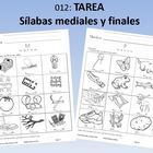 Tarea: Sílabas mediales y finales (40 pages)Homework Book: Middle