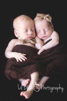 Newborn Bow Tie Newborn Tie Back Headband Set Newborn Twin Set Photo Prop Ready to Ship. $10.00, via Etsy.