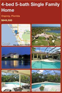 4-bed 5-bath Single Family Home in Osprey, Florida ►$849,500 #PropertyForSale #RealEstate #Florida http://florida-magic.com/properties/7556-single-family-home-for-sale-in-osprey-florida-with-4-bedroom-5-bathroom