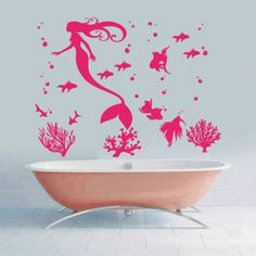 Mermaid Wall Decals Fish Decal Vinyl Water Sticker Bathroom Girl Nursery Children Bedroom Home Decor Dorm Interior Art Murals MN991 (21x28) >>> Click image for more details. (This is an affiliate link and I receive a commission for the sales)