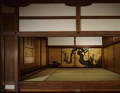 Traditional Japanese Tatami room with gold printed was with art. Tatami Room, Tatami Mat, Japan Design, Japanese Architecture, Interior Architecture, Sala Tatami, Modern Japanese Interior, Japanese Dojo, Japanese Style House