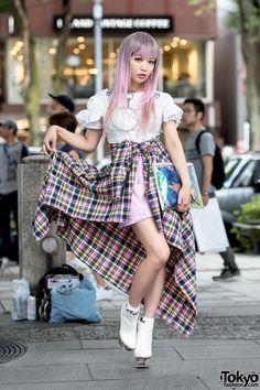 J-Pop Singer in Harajuku w/ Pink Plaid, Vinyl Skirt, O-Ring Choker & Platform Booties