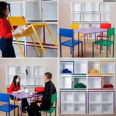 Pretty neat actually! Hide the table and chairs into a shelving unit when not in use to free up floor space. genius ideas, #dumpaday