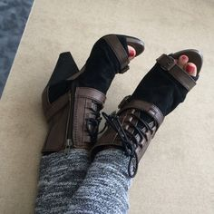 Edgy heels Edgy and fun! These are great with skinny jeans, shorts or a fun dress. Just never get around to wear them. NWOT Shoes